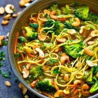 You won't miss the meat whatsoever in these flavor-packed broccoli cashew curry noodle broth bowls! SO full of cozy spring flavors and ready in minutes!