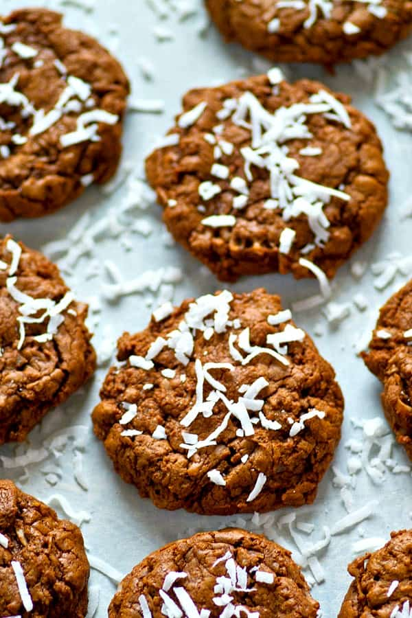 Ready for the ULTIMATE cookie texture? These coconut chocolate fudge cookies have the most incredible fudgy texture and taste basically like a thick brownie.