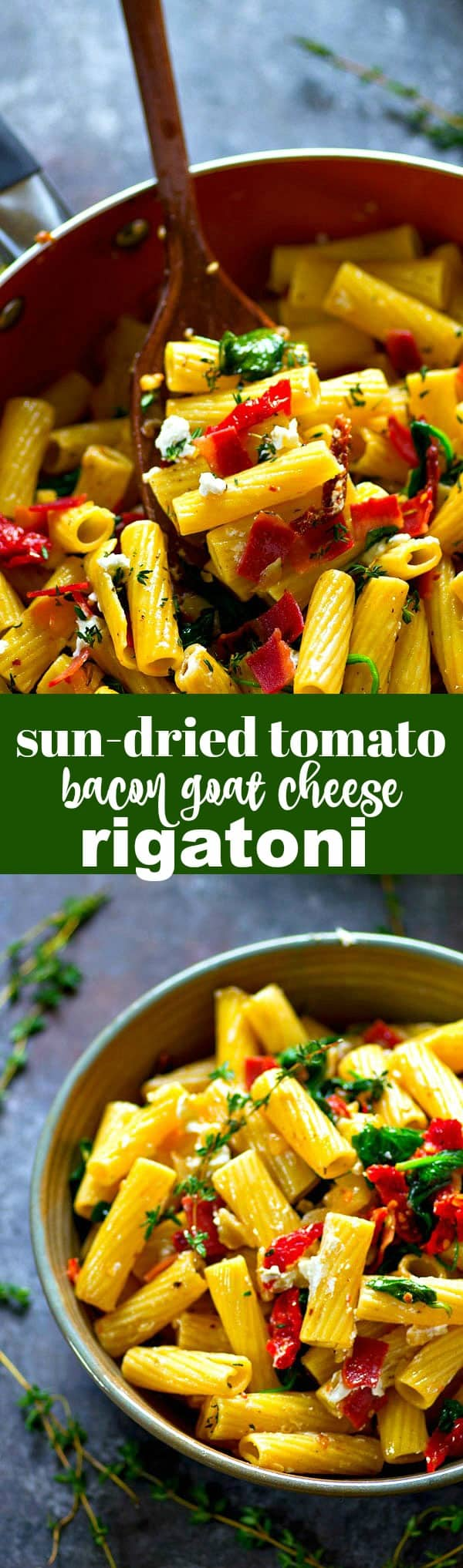 Smoky bacon, tangy sun-dried tomatoes, and soft goat cheese are an INCREDIBLE trio of flavors in this fresh, flavorful sun-dried tomato bacon goat cheese rigatoni!
