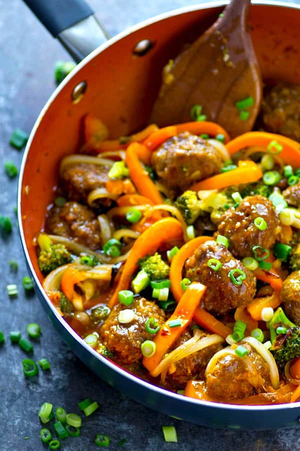 You'll never find takeout as good as this Mongolian beef meatball veggie stir-fry! The meatballs are so tender and juicy and covered in a savory homemade Mongolian sauce!