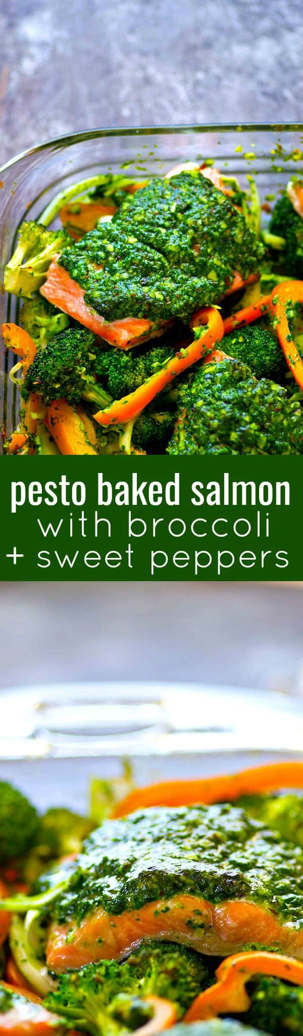 Smothered in flavorful basil pesto and roasted with broccoli and sweet peppers, this pesto baked salmon is on the dinner table in MINUTES and super filling, yet light on the carbs!