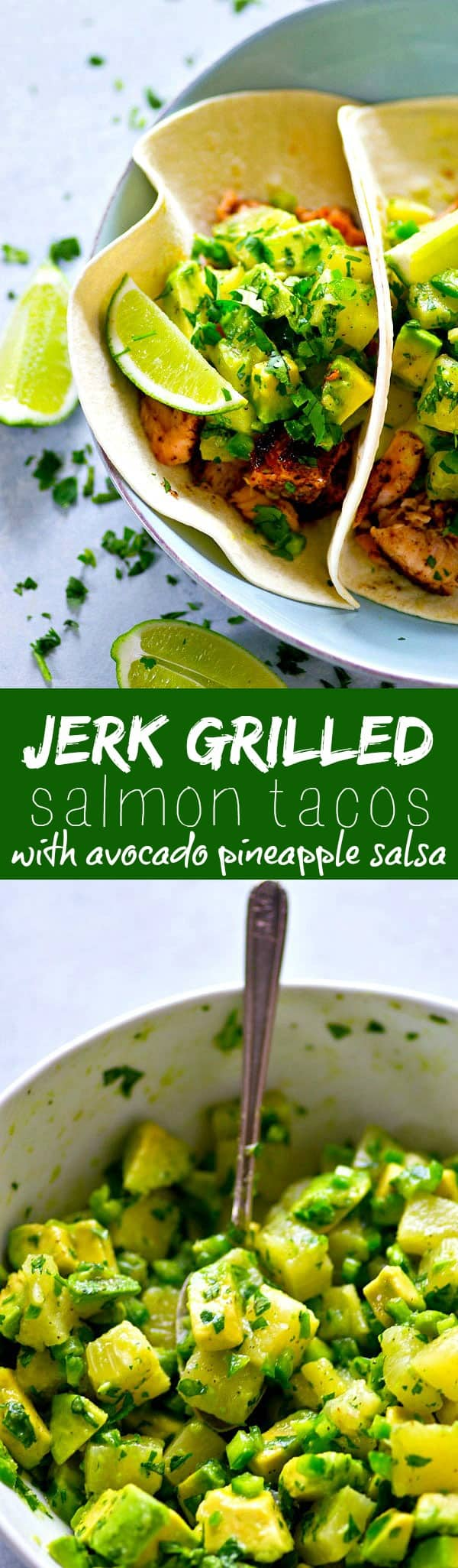 A smokey homemade jerk seasoning coats every inch of these jerk grilled salmon tacos that are heaped in soft flour tortillas and piled high with tangy avocado pineapple salsa!