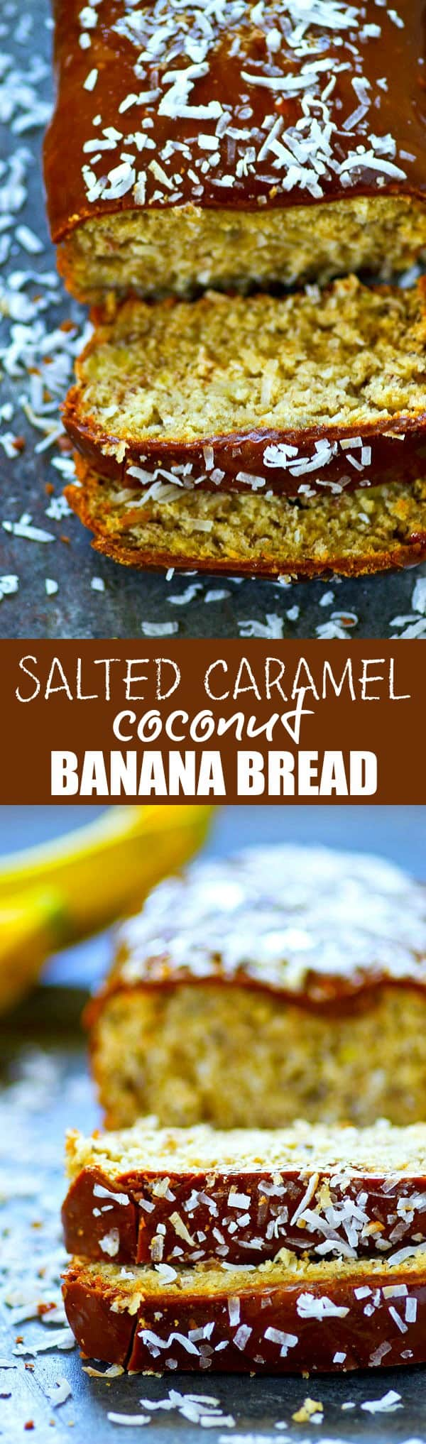 This salted caramel coconut banana bread is INCREDIBLY soft, loaded with tons of coconut, and glazed with an absolutely insane salted caramel glaze.--there's no stopping at just one slice!