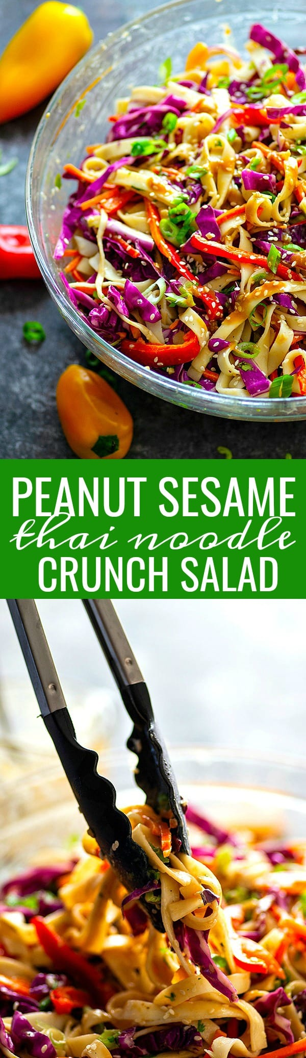 Tossed in a sweet peanut sesame dressing and loaded with TONS of awesome crunch, this peanut sesame thai noodle crunch salad is everything you could ever want in a summer salad!