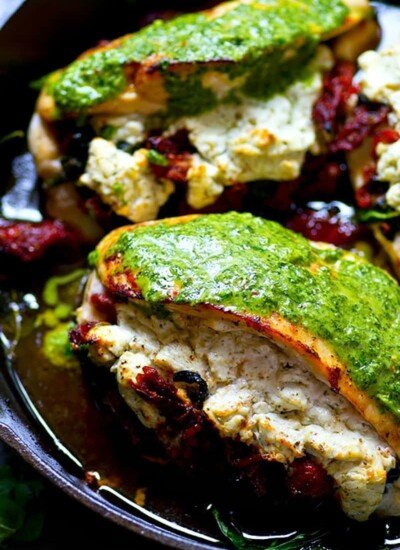 This sun-dried tomato goat cheese stuffed chicken is packed with tender sun-dried tomatoes and spinach, creamy goat cheese, and drizzled with an INSANELY flavorful chimichurri sauce.