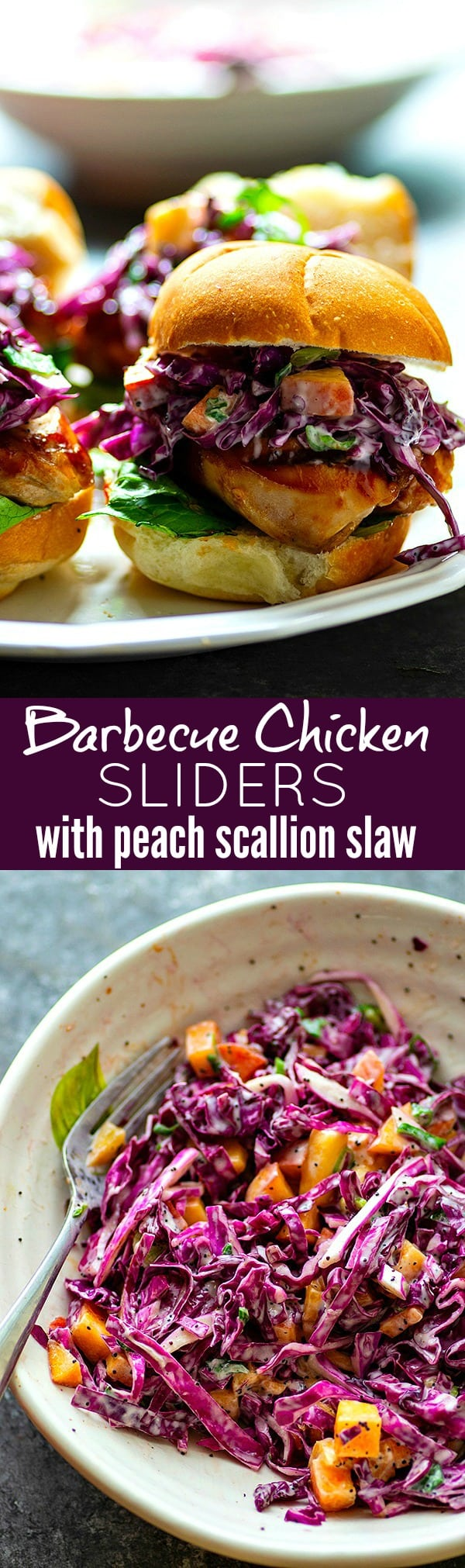 Barbecue Chicken Sliders with Peach Scallion Slaw - Massively flavorful barbecue chicken sliders are piled high with a sweet peach scallion slaw for the ULTIMATELY easy and crowd-pleasing summer appetizer!