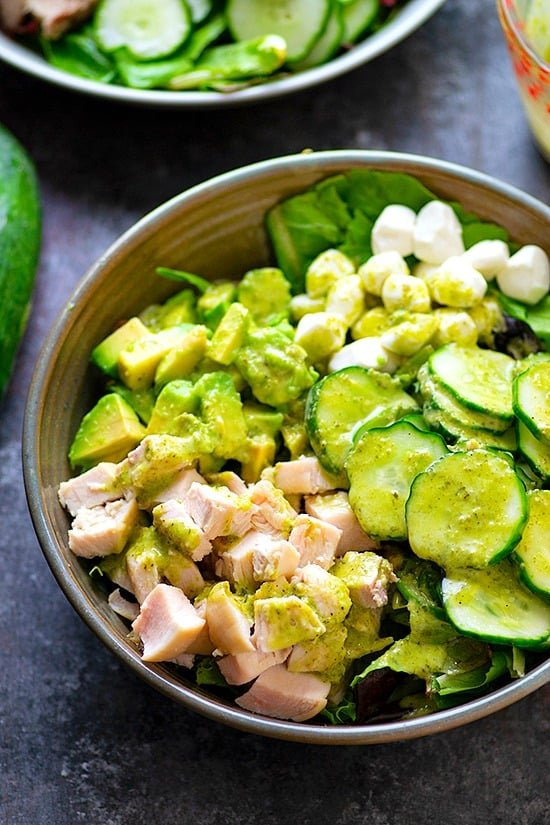 Quick Pickle Cucumber Chicken Green Goddess Salad - Sweet and crunchy quick pickled cucumbers, tender chicken, and a creamy green goddess dressing pile SO much incredible summer flavor into this chicken green goddess salad!