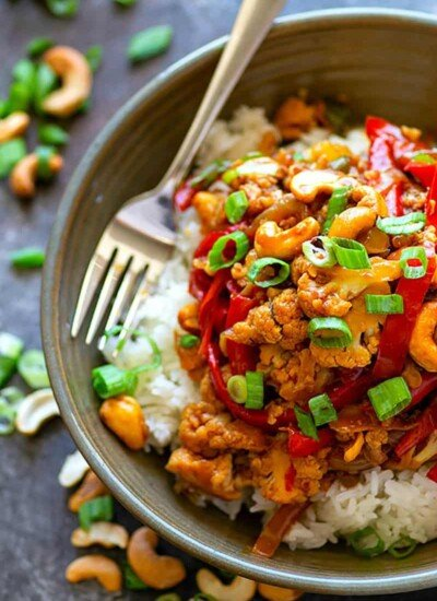 Miso Sweet Pepper Cashew Cauliflower Stir-Fry - Flavorful miso transforms this sweet pepper cashew cauliflower stir-fry into one for the dinner record books! You won't even miss the meat in the least bit.