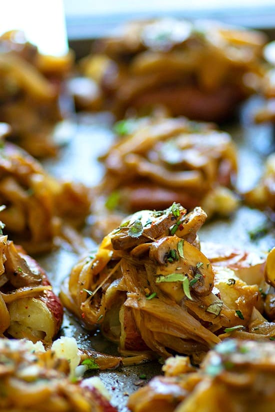 Balsamic Caramelized Onion Mushroom Crispy Smashed Potatoes - Crispy smashed potatoes are covered in a creamy balsamic sauce packed with caramelized onions and tender mushrooms for the ULTIMATELY easy side or appetizer!