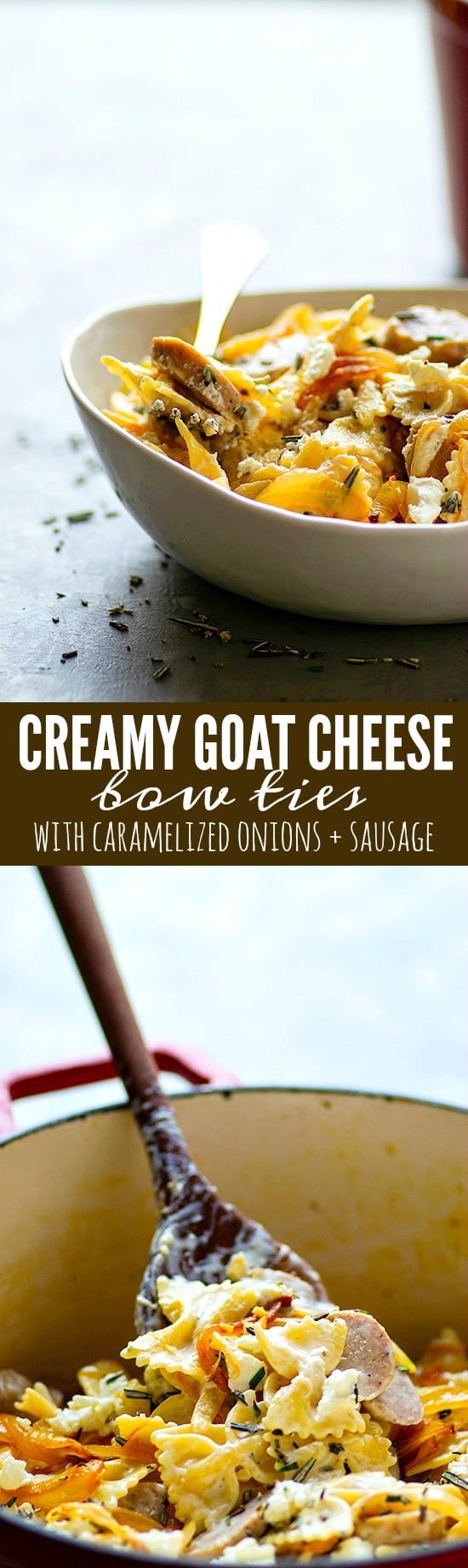 Creamy Goat Cheese Bow Ties - Ultra-creamy goat cheese bow ties packed with flavorful caramelized onions and sausage is the perfect pasta dish to put on the table when you want to shake up your pasta dinner game!