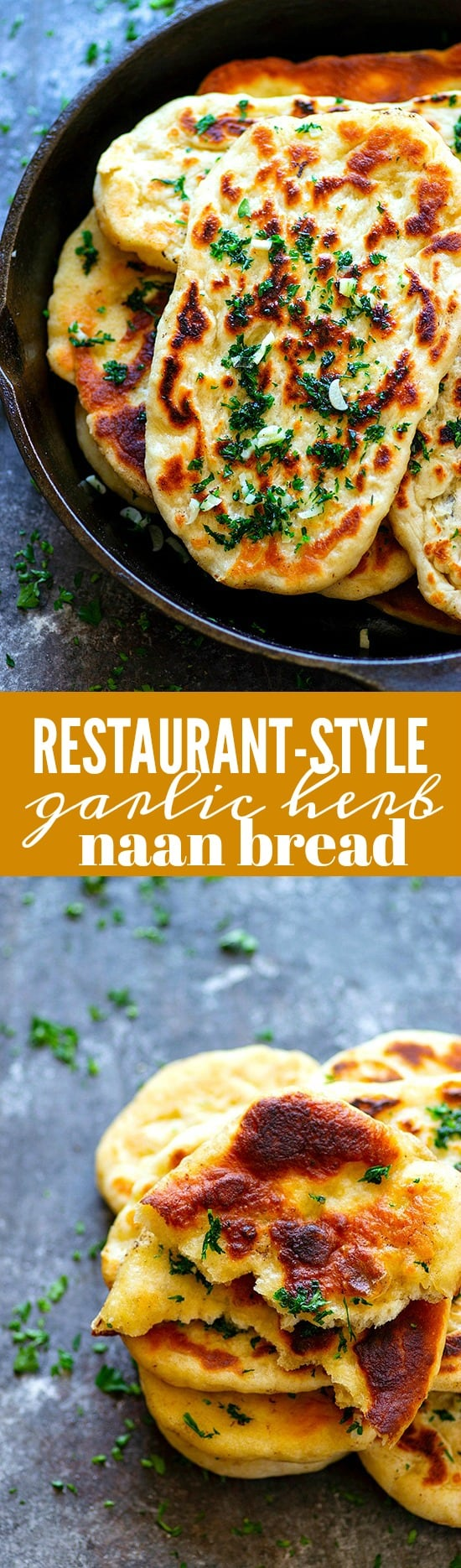 Restaurant-Style Garlic Herb Naan Bread - Impossibly soft and pillowy restaurant-style garlic herb naan bread is SUPER easy to make at home and the best side to any curry or rice dish!