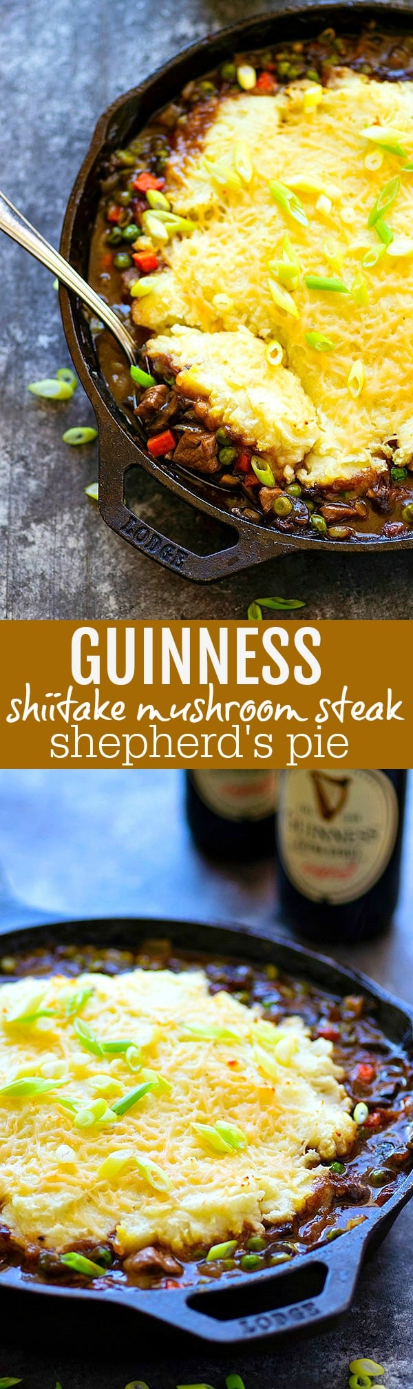 Guinness Shiitake Mushroom Steak Shepherd's Pie - Dark guinness beer, tender shiitake mushrooms, and juicy steak transform a classic comfort food into a SUPER cozy dinner that will find a permanent spot on the dinner menu!