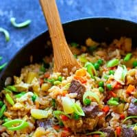 Hawaiian Pineapple Steak Fried Rice - Jam-packed with juicy steak cubes and sweet pineapple, this Hawaiian pineapple steak fried rice is the BEST way to use up leftover rice and tastes 100x better than takeout!