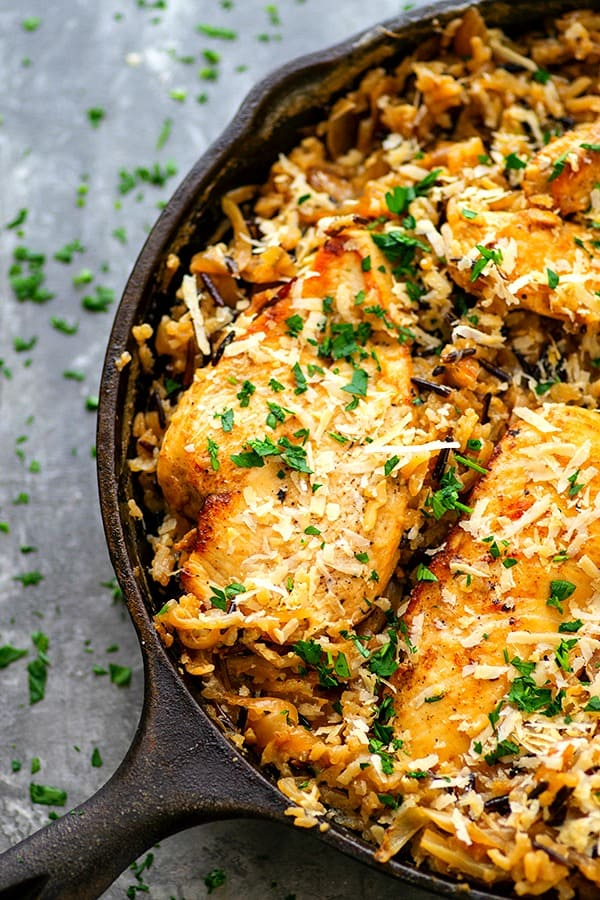 One-Pot Caramelized Onion Chicken Wild Rice - One pot and less than an hour of your evening is all it takes to throw together this caramelized onion chicken wild rice!