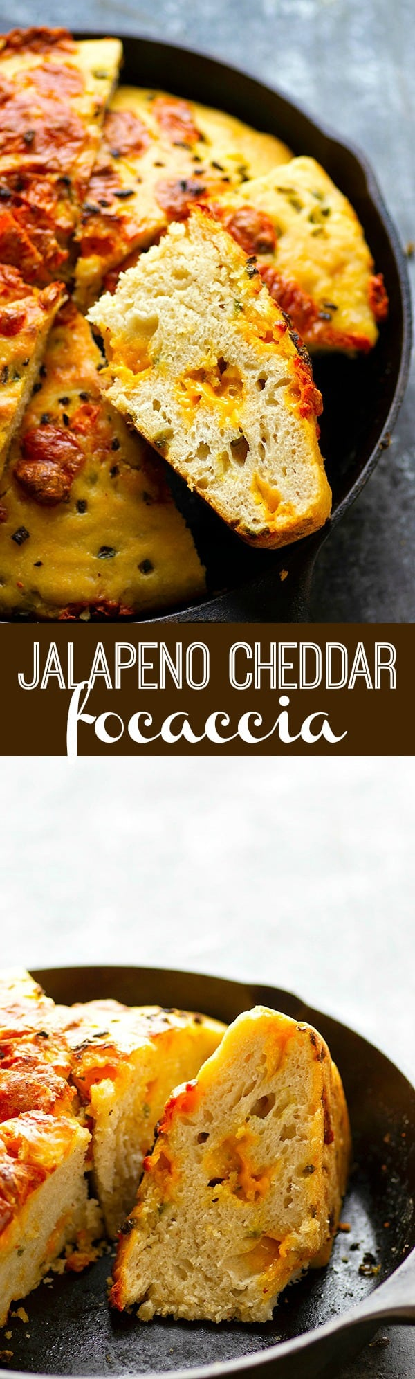 Jalapeno Cheddar Focaccia - Gooey pockets of sharp cheddar cheese and spicy jalapeno bits are the most INSANE duo in this incredibly soft and flavorful jalapeno cheddar focaccia bread!