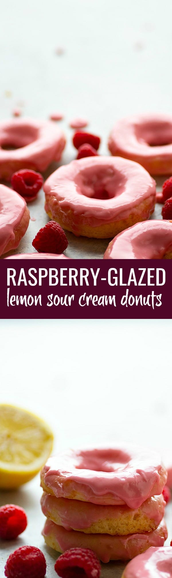 Raspberry-Glazed Lemon Sour Cream Donuts - Soft, tangy lemon sour cream donuts are glazed in a sweet raspberry glaze and a much healthier way to get your donut fix!