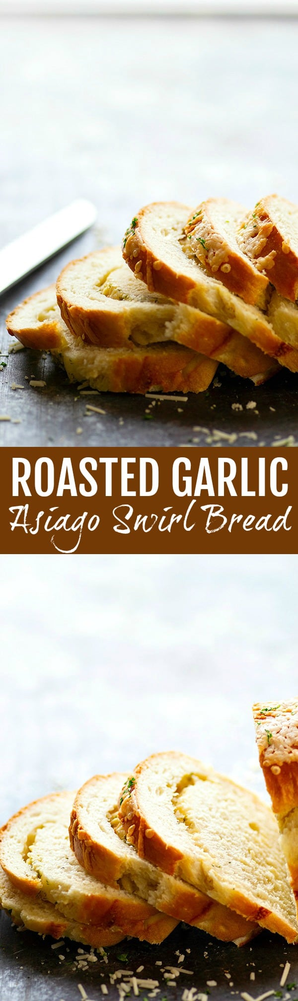 Roasted Garlic Asiago Swirl Bread - Flavorful roasted garlic and sharp Asiago cheese are swirled into this incredibly soft and tender yeast bread.