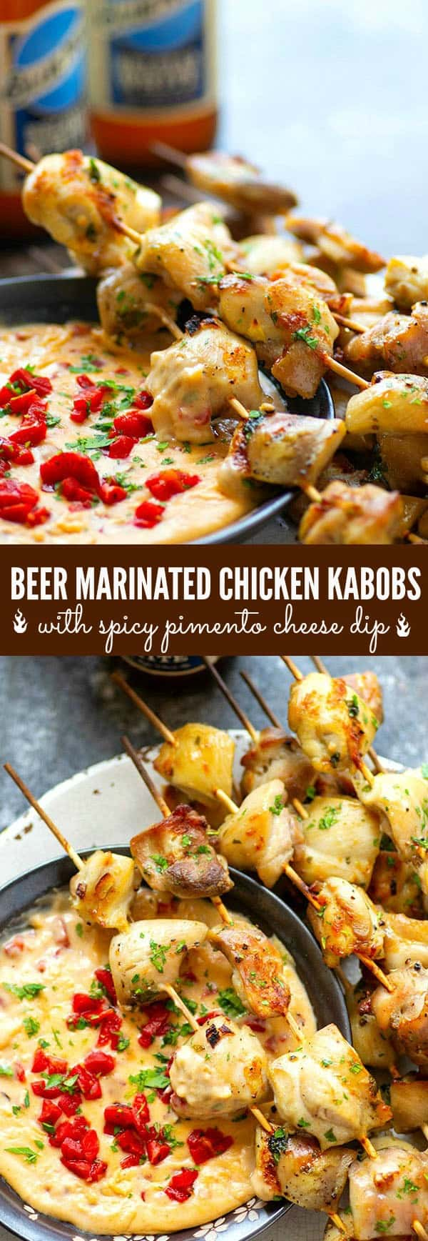 Incredibly juicy and flavorful beer marinated chicken kabobs are quick to throw on the grill for any cookout! Paired with a spicy pimento cheese dip, these chicken kabobs will quickly become a cookout staple.