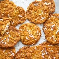Classic anzac biscuits feature a perfectly crisp and chewy cookie texture packed full of flaked coconut and oats. --- just try to eat one of these addicting cookies!