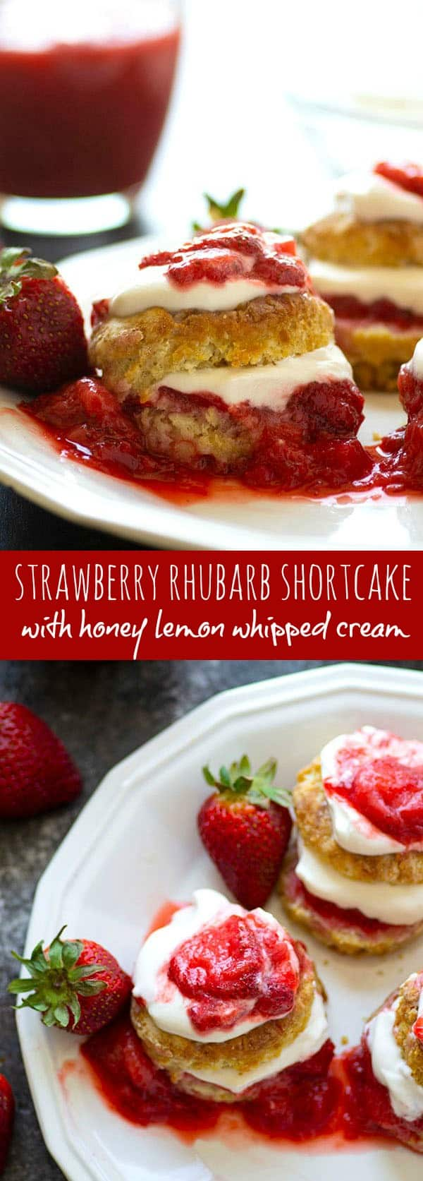Strawberry rhubarb shortcake is the most amazing summer indulgence! Flaky homemade biscuits are filled with plenty of honey lemon whipped cream and tangy strawberry rhubarb sauce.