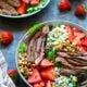 Balsamic Bleu Cheese Grilled Steak Strawberry Salad