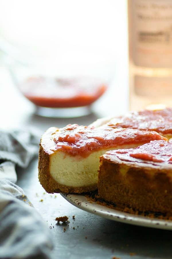 A tangy fresh rhubarb sauce and plenty of sweet rosé wine in both the sauce and the cake are a winning flavor duo in this showstopping white chocolate cheesecake!