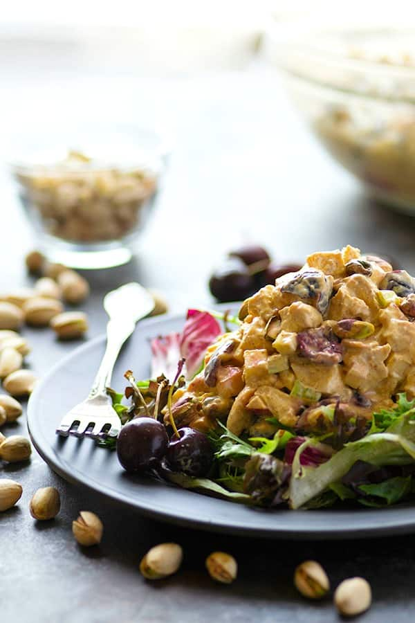 Juicy fresh cherries, toasted pistachios, and a creamy greek yogurt dressing take this yogurt curry chicken salad to the next level! Serve it on a sandwich, wrap, or bed of greens.