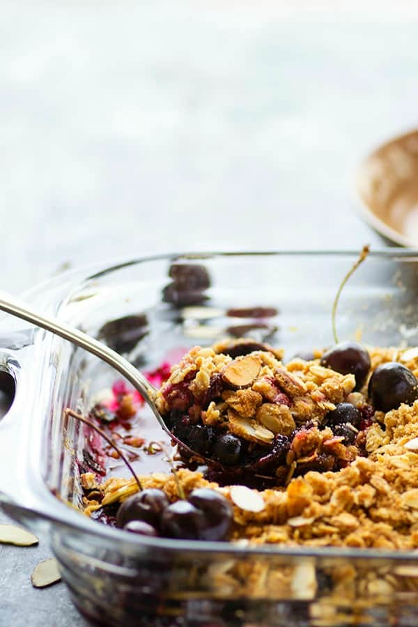 Flavorful browned butter and toasty almonds transform this luscious blueberry cherry crisp into an incredible dessert. Serve with plenty of vanilla ice cream for the perfect summer treat.