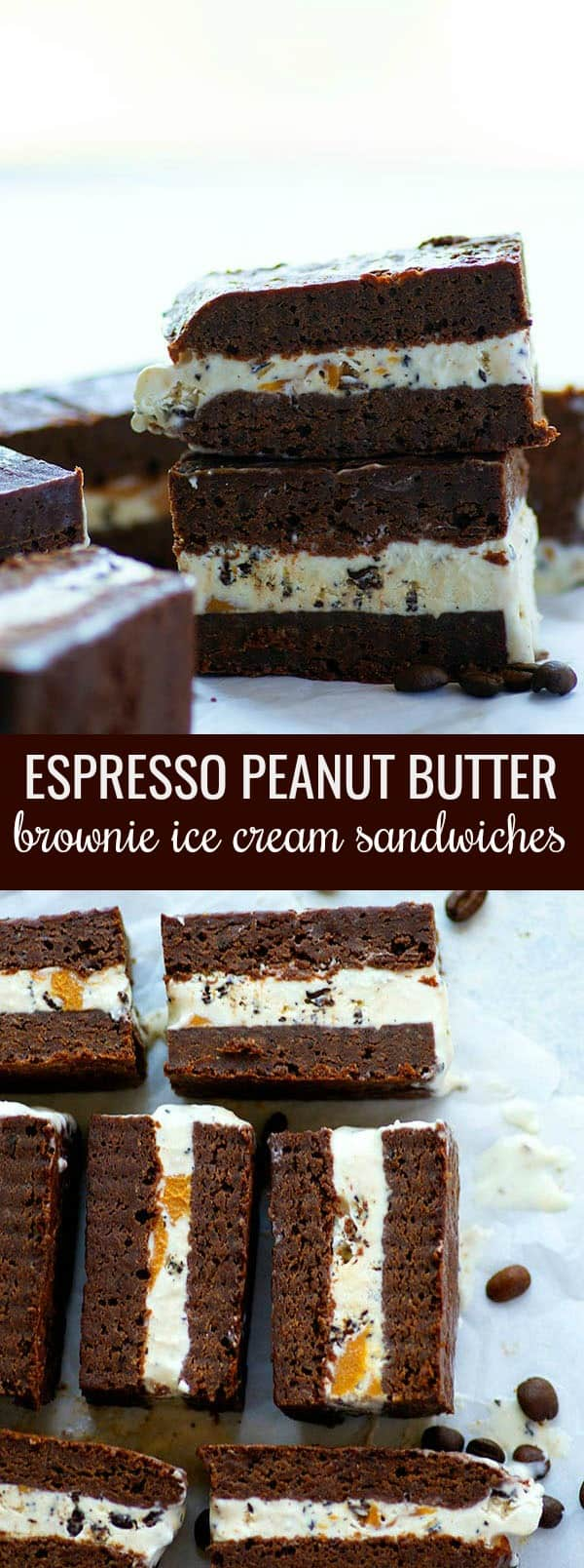 Brownie ice cream sandwiches are dressed up with a no-churn espresso ice cream and swirls of creamy peanut butter for an incredible twist on ice cream sandwiches that coffee lovers will adore!