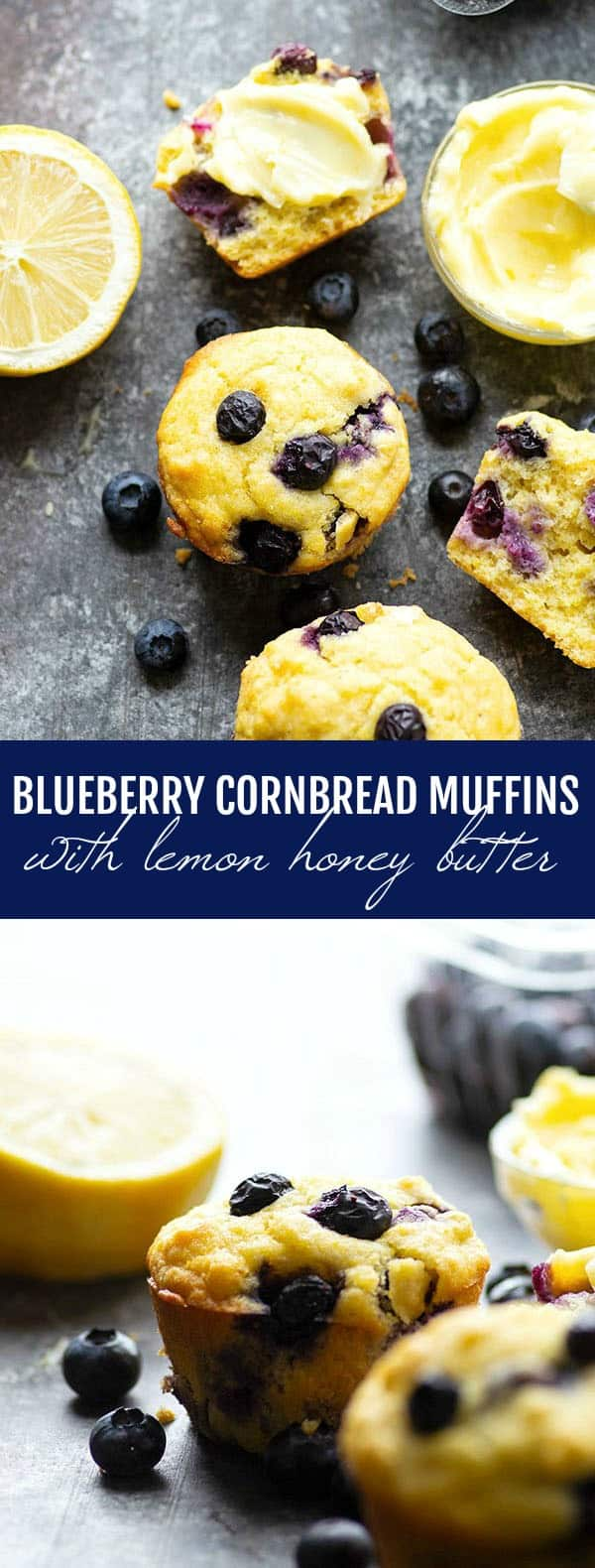 Blueberry cornbread muffins are incredibly soft inside, loaded with juicy blueberries, and heavenly slathered with a sweet lemon honey butter!