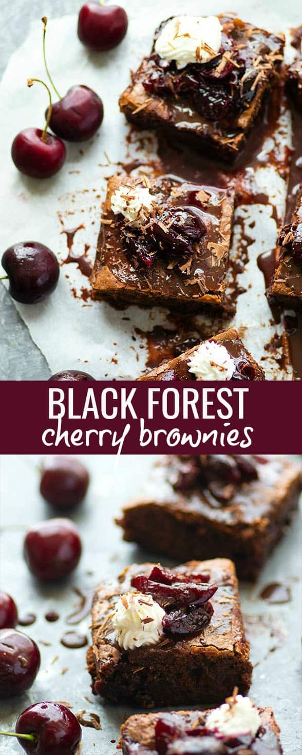 These black forest cherry brownies feature a fudgy brownie base swirled with cherry preserves and topped with whipped cream and extra cherries. -- The perfect crowd-pleaser dessert!