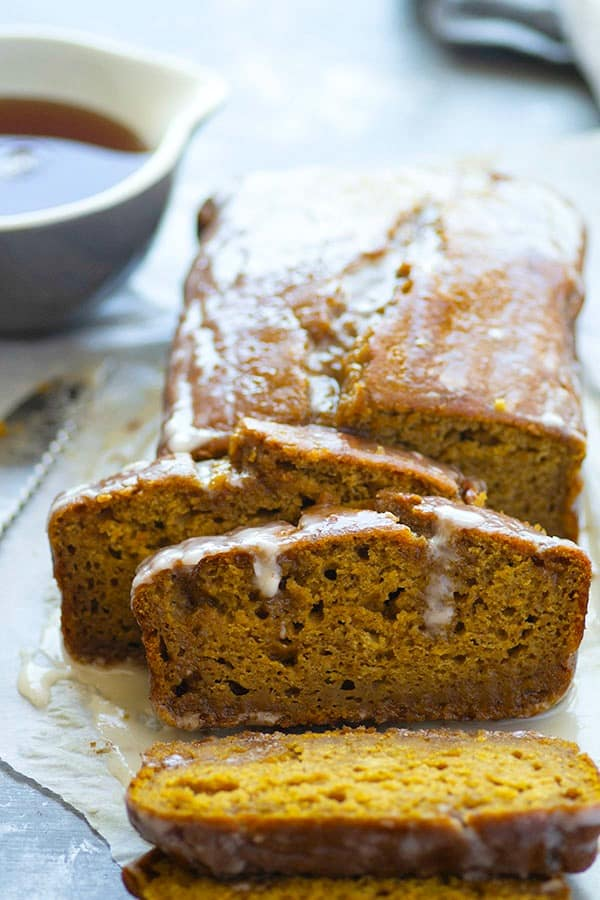 Sweet maple syrup and warming chai spices are the perfect couple in this incredibly soft maple pumpkin bread that's sure to become a favorite this fall!
