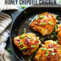 Glazed with a spicy honey chipotle sauce and incredibly juicy, these sticky honey chipotle chicken thighs bake up in only 30 minutes and are the perfect way to kick up your dinner game!