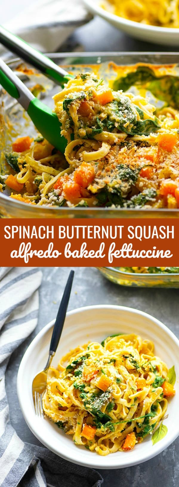 Fettuccine alfredo gets a fall upgrade with lots of tender baby spinach and a luxuriously creamy butternut squash alfredo sauce that's lighter on the calories!
