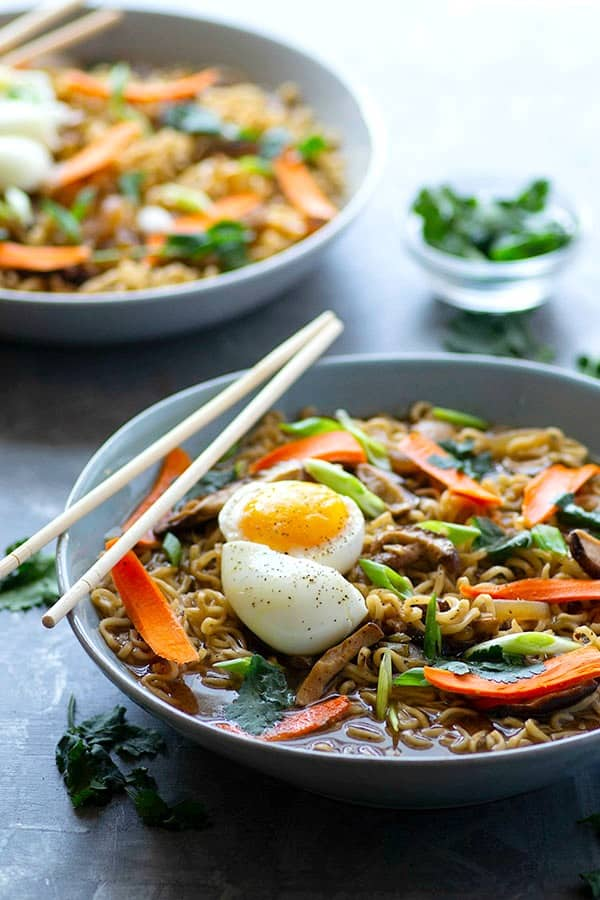 Spicy miso ramen is loaded with caramelized onions and shiitake mushrooms in a rich, flavorful broth that will rival your favorite ramen place!
