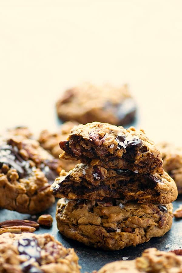 Gooey dark chocolate, toasty pecans, tender oats, and a sprinkle of sea salt take these pecan oatmeal cookies to the next level! Comes together in one bowl with NO dough chilling required.