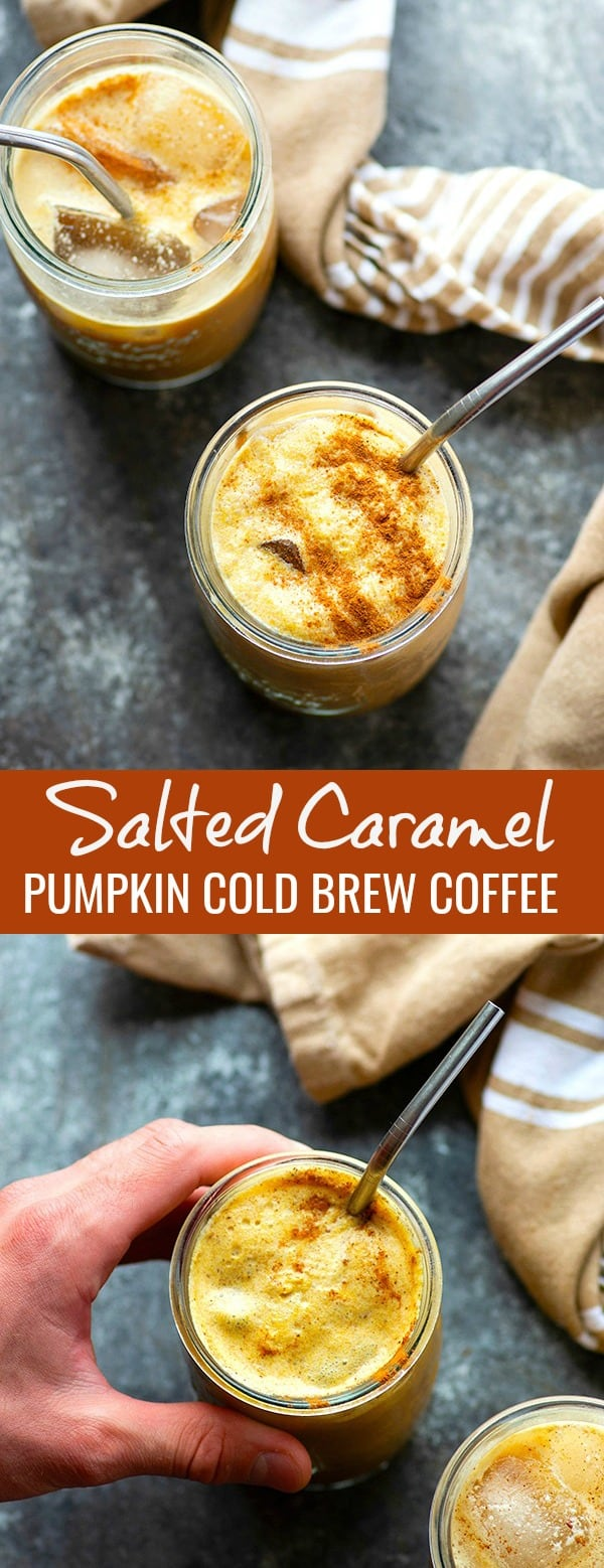 Pumpkin cold brew is the easiest fall coffee drink to make at home. A homemade salted caramel syrup, warming fall spices, and pumpkin take this creamy coffee drink over the top!