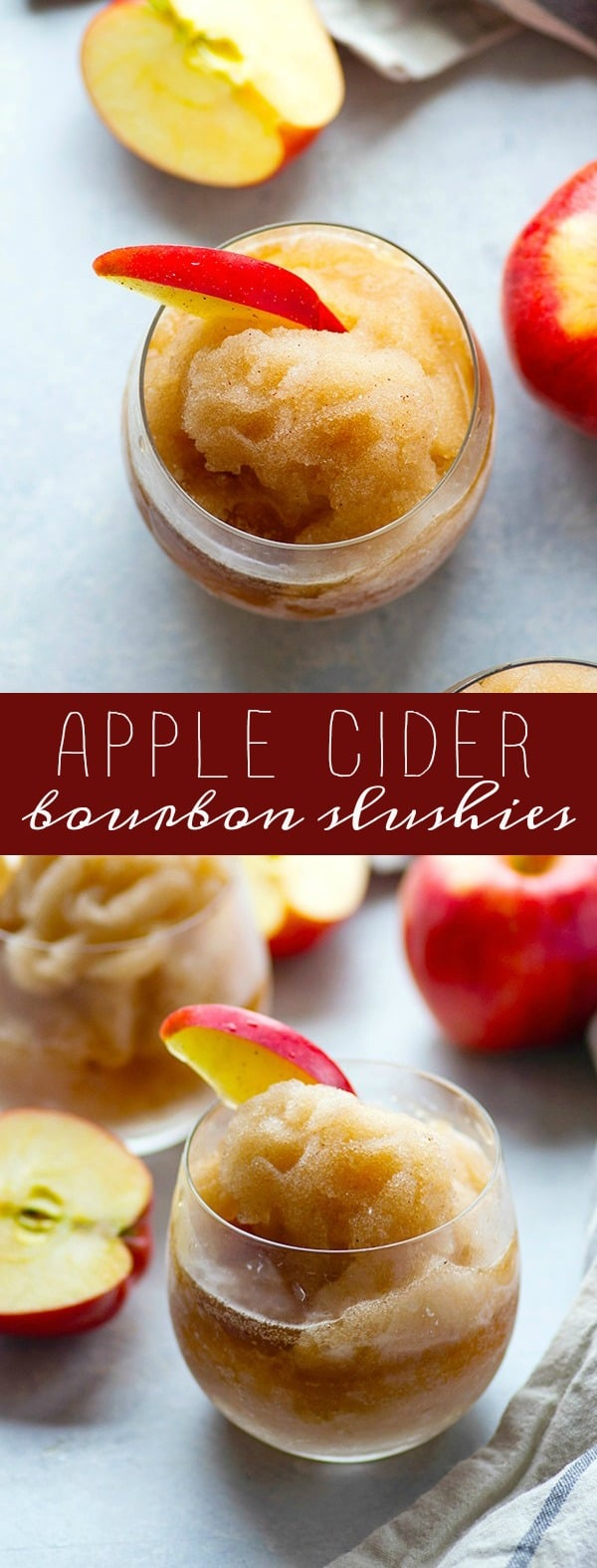 Apple cider bourbon slushies are going to quickly become your favorite fall cocktail! The sweet apple cider, fall spices, and firey bourbon are an incredible trio of flavors in these refreshing sippers.