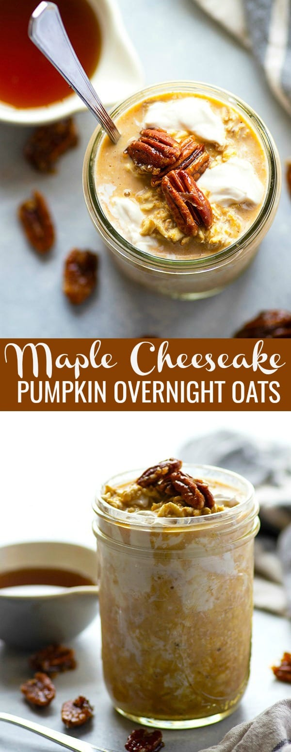 Sweet maple syrup, creamy pumpkin, and a luscious swirl of cheesecake take these pumpkin overnight oats over the top! Only TEN minutes of prep time the night before.
