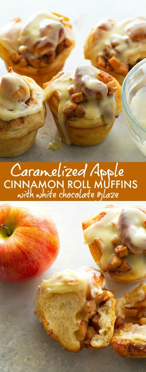 Fluffy cinnamon roll muffins are stuffed with a caramelized apple filling and glazed in a sweet white chocolate glaze for a dreamy fall breakfast!