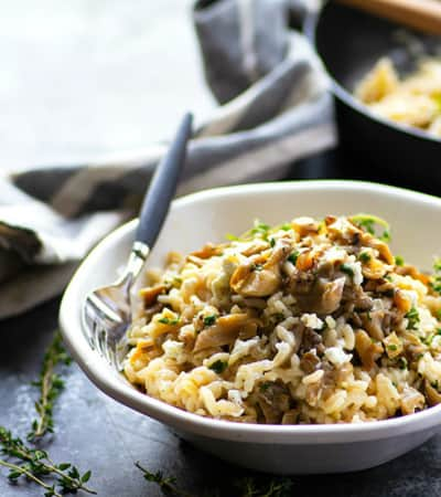 Flavorful garlic butter and tender shiitake mushrooms take this creamy goat cheese risotto to the next level! Ready in only 30 minutes in one pot!