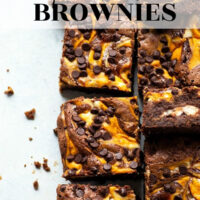 Extra fudgy brownies are swirled with a silky pumpkin cheesecake filling and topped with mini chocolate chips for an incredible fall twist on brownies!