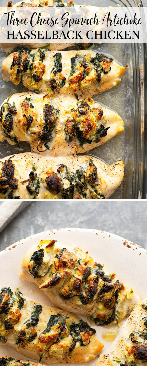 Stuffed with three different cheeses and a garlicky spinach artichoke filling, this hasselback chicken is a breeze to whip up and the perfect way to elevate chicken breasts for dinner!
