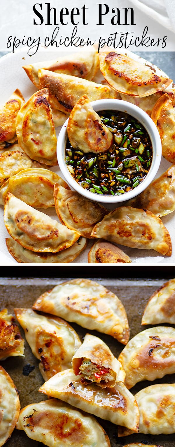 Chicken potstickers are stuffed with a flavorful spicy chicken filling and baked entirely on a sheet pan instead of fried for easy cleanup! Pair these potstickers with a ginger dipping sauce for an incredible appetizer or side dish.