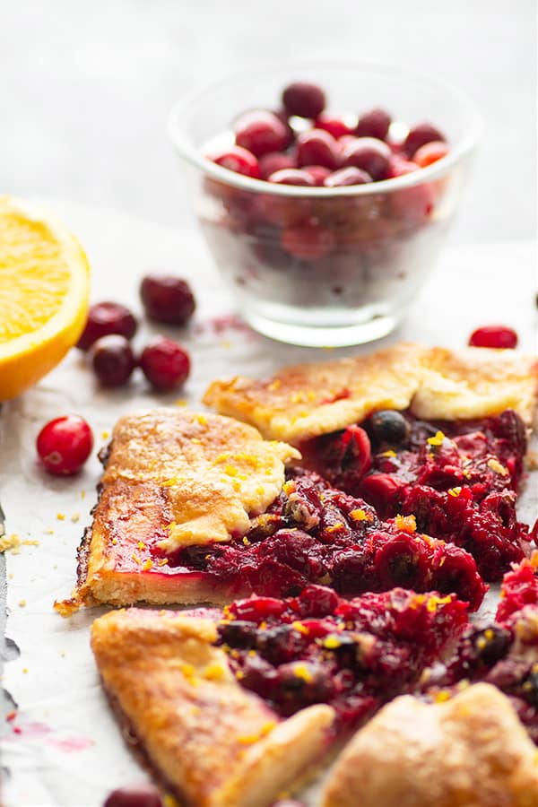 Flavorful orange zest and spicy fresh ginger add the perfect touch of festive flavors to this orange ginger cranberry galette! So much easier to make than standard pie and always a dessert hit.