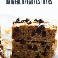 These thick, chewy banana chocolate chip oatmeal breakfast bars are the best way to start the day! Make them way ahead of time or freeze them for an easy grab 'n' go breakfast.