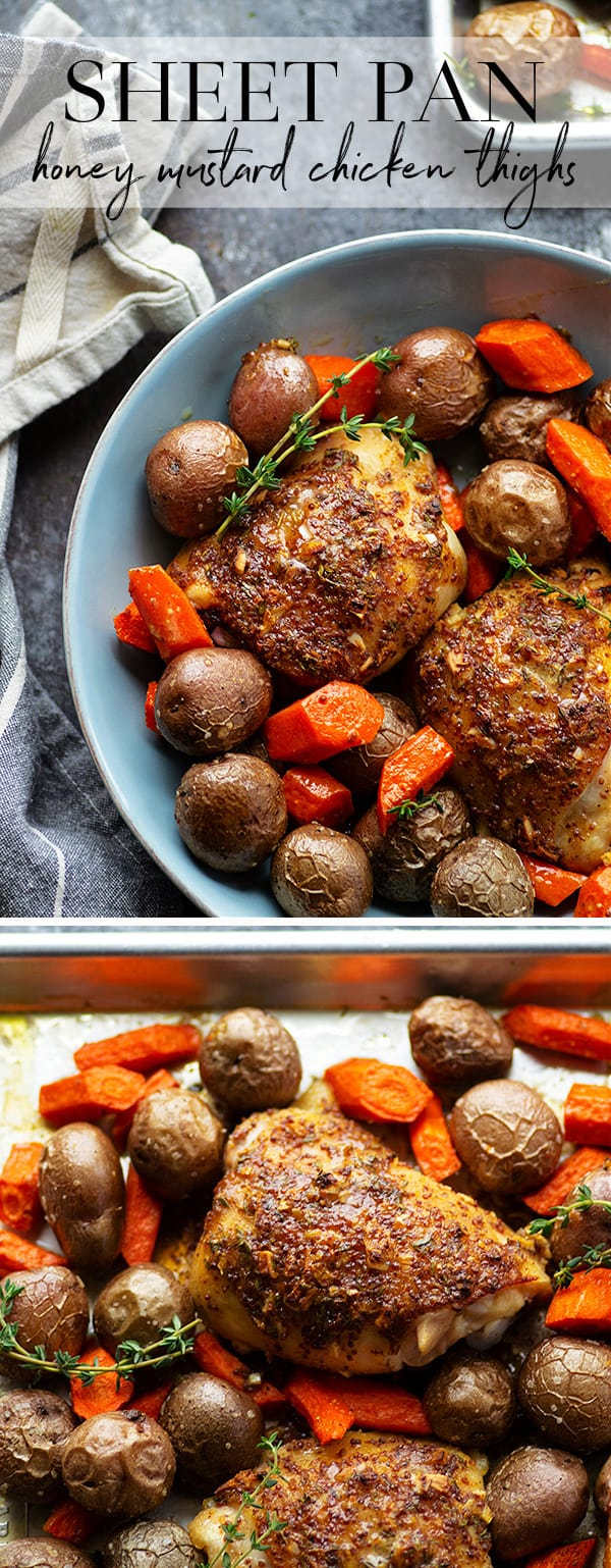 This sheet pan honey mustard chicken roasts up ENTIRELY on one sheet pan and features tender red potatoes and carrots in the most amazing homemade honey mustard sauce!