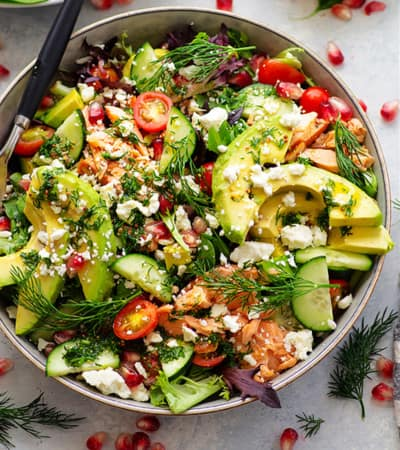 Flavorful smoked salmon, silky avocado, and a bright Dijon honey vinaigrette bring the most incredible flavors and colors to this company-worthy smoked salmon salad!