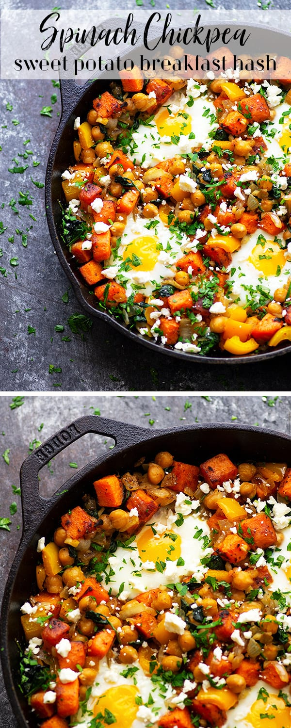 Start your morning off on the right foot with this protein-packed sweet potato breakfast hash! Piled high with fresh baby spinach, chickpeas, and baked eggs for the ultimate healthy breakfast skillet.