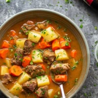 Irish beef stew is made entirely in the instant pot in only an hour and features tender beef cubes and vegetables in a rich stout sauce. - serve this hearty stew with lots of crusty bread!